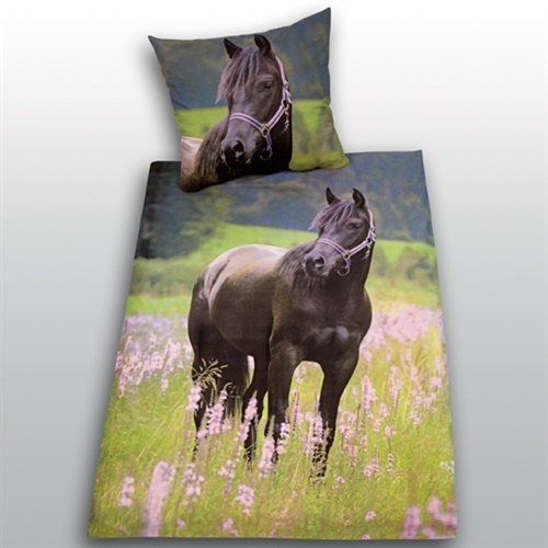 bettw sche pferd fotodruck 135x200 cm 80x80 cm flanell. Black Bedroom Furniture Sets. Home Design Ideas
